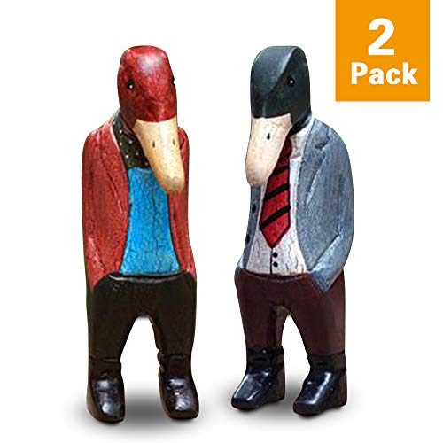 FishMM Scandinavian Style Set of 2 Mr. Ducks Wooden Sculpture, Nordic Design Duck Face Carved Animals Figurines, Color Painting Classical Handicraft