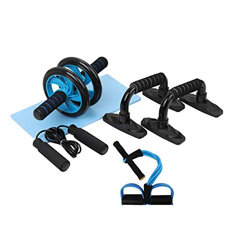 Gym Fitness Equipment Muscle Trainer Wheel Roller Kit Abdominal Roller Push Up Bar Jump Rope Workout Sport Home Gym…