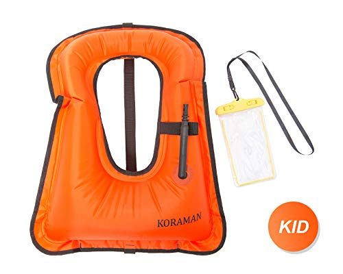 KORAMAN Fast Inflatable Snorkel Vest Compact for Swimming Free Diving Safety-Life Jacket for Adult Child + Waterproof Phone Pouch Orange Kid (Child Snorkel Vest)