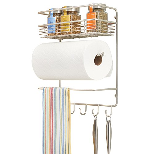 mDesign Metal Wall Mount Paper Towel Holder with Storage Shelf and Hooks for Kitchen, Pantry, Laundry, Garage Organization - Holds Spices, Seasonings, Pot Holders, Cookware - Satin
