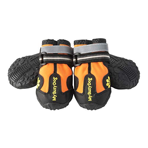 My Busy Dog Water Resistant Dog Shoes with Two Reflective Fastening Straps and Rugged Anti-Slip Sole | Dog Boots Perfect for Small Medium Large Dogs | Size Chart in Pictures (Size 1, Orange)