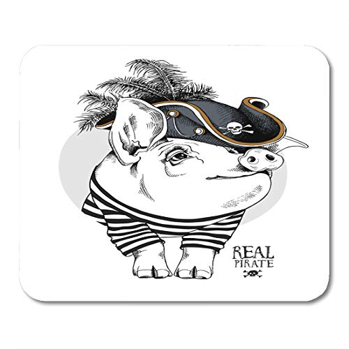 Semtomn Mouse Pad Accessory Pig in Striped Cardigan Pirate Hat Feathers Adorable Mousepad 9.8