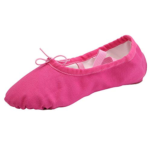 Women's Ballet Practice Ballroom Dance Shoes Canvas Belly Slippers Split-Sole(9, Hot Pink) (Women Slippers Hot Pink For)