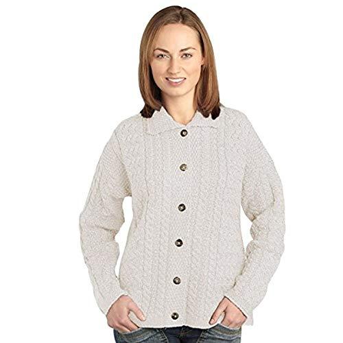 100% Soft Irish Merino Wool Merino Button Collar Cardigan, Natural (Aran Cardigan Womens)