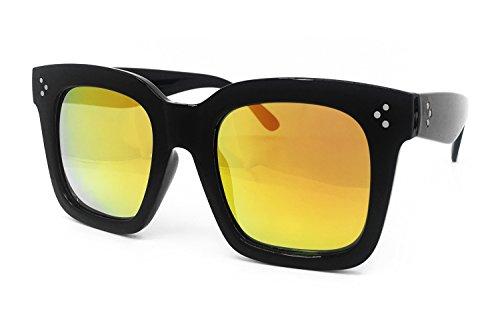 O2 Eyewear 7222 Premium Oversize XXL Women Men Mirror Revo Havana Tilda Shadow Style Fashion Sunglasses (BLACK/ORANGE, TILDA - Sunglasses Havana Orange