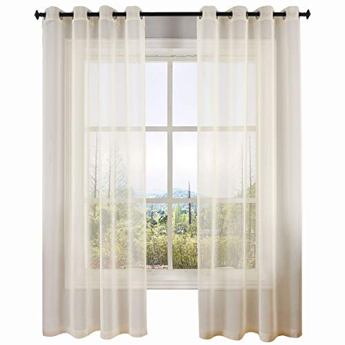 DWCN Sheer Curtains Linen Look Voile Sheer Living Room Curtains,Set of 2 Grommet Window Curtain Panels 52 x 72 incheses Long,Slightly ()