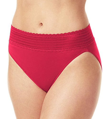 Warner's No Pinching. No Problems. Lace Hi-Cut Brief Class Red Small -