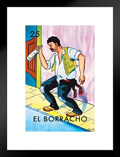 25 El Borracho The Drunk Loteria Card Mexican Bingo Lottery Matted Framed Wall Art Print 20x26 inch
