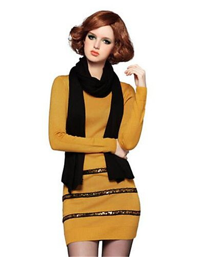 PU&PU Robe Aux femmes Ample Simple,Rayé Col Arrondi Au dessus du genou Polyester , yellow-m , yellow-m