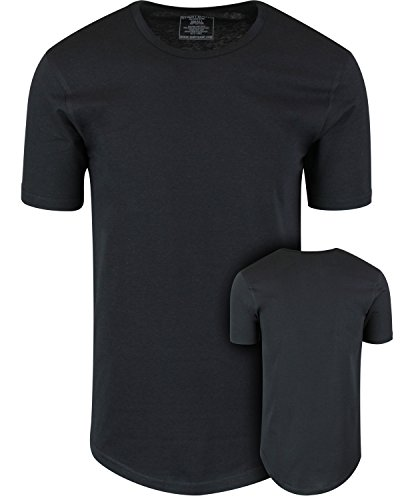 ShirtBANC Mens Hipster Hip Hop Long Drop Tail T Shirts (Black, L)