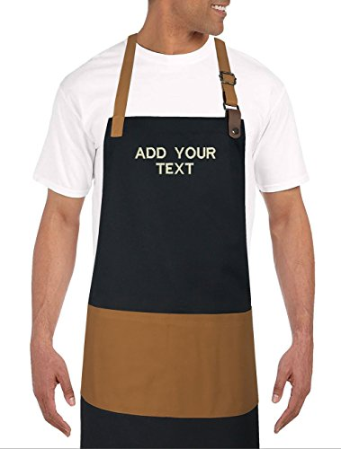 Custom Embroidered Apron (10oz Apparel Personalized or Blank Bib Apron with Leather Custom Embroidered (Black/Carmel))