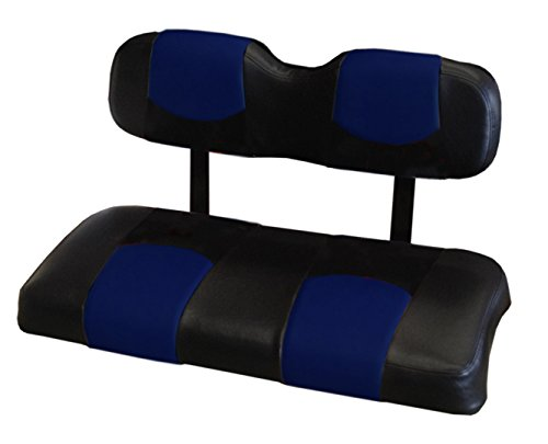 Kool Cushions CCPREC-BKBLCPTP-01 -Custom Vinyl Golf Cart Seat Covers Front and Rear-Black WithBlue Chip Top - For Club Car Precedent Golf Cart -  CCPREC--BKBLCPTPFR-01
