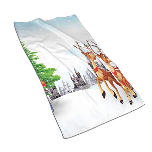 YABABY Beach Towel Polyester Washcloths 27.5 X 17.5 in, Snow Covered Christmas Village with Cartoon Santa On His Sleigh Big Tree and Boxes,for Travel,Beach,Swimming,Bath,Camping,and Picnic. (Terrys Village Santa)