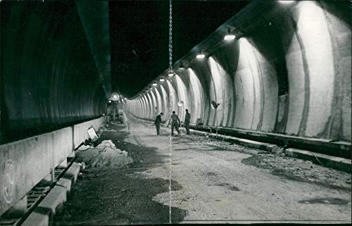 Vintage photo of Dartford tunnel:Thames funnel nearly ready.