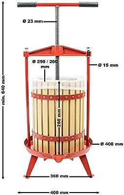 Prensa de fruta de madera Capacidad de 12 litros Prensa de husillo ...