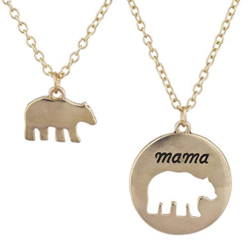 Lux Accessories Goldtone Mama Bear Mother Daughter Charm Pendant Necklace 2PC ()