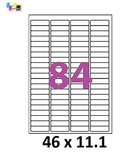 100 A4 hoja 84 pegatina 46 X 11 mm etiqueta adhesiva ...