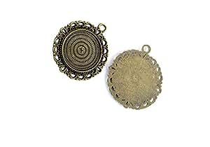 Joyería Making charms colgante antiguo bronce color Retro conclusiones suministros gat7bf6redondo ajuste Blanks cabochon marco