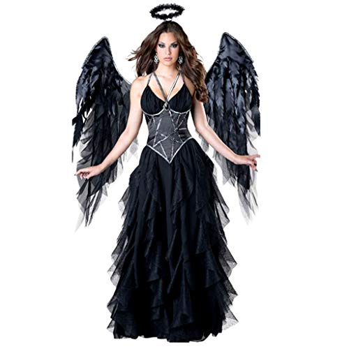 TINGSHOP Women's Dark Angel's Desire Costume, Evil Feather Wings Cosplay Halo Fancy Dress for Adult Women Girls Halloween Christmas Part Carnival Masquerade ()
