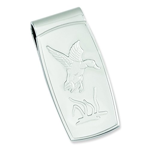 Rhodium-Plated Flying Duck Hinged Money Clip (Money Clip Duck)