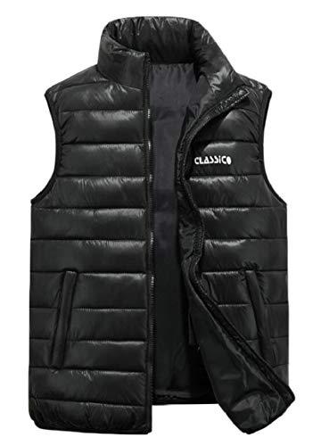 security Men's Winter Stand Collar Lightweight Vest Casual Down Jacket Coat Vest Black