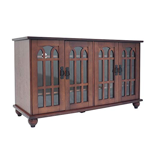 "MARCAL 46"" Arched-Door Style 4 Door TV Stand Storage Console Cabinet, Walnut Finish"