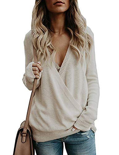 Sleeve Wrap Long Spandex (Paris Hill Womens Knitted Deep V-Neck Long Sleeve Wrap Front Loose Sweater Pullover Jumper Tops Beige X Large)