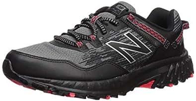 New Balance Men's 410v6 Cushioning Trail Running Shoe, Black/Castlerock/Energy red, 8 4E US