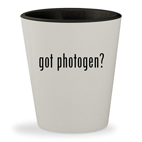 got photogen? - White Outer & Black Inner Ceramic 1.5oz Shot Glass (Diffuser Photogenic)