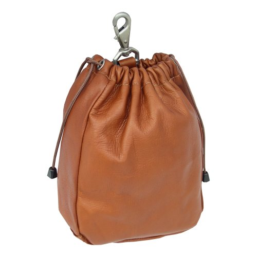 Piel Leather Large Drawstring Pouch, Saddle, One (Piel Leather Large Handbag)