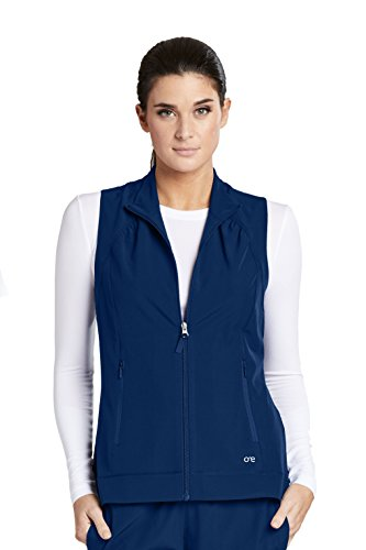 Barco One 5406 Mock Neck Zipper Vest Indigo S (Nursing Jacket Uniform)