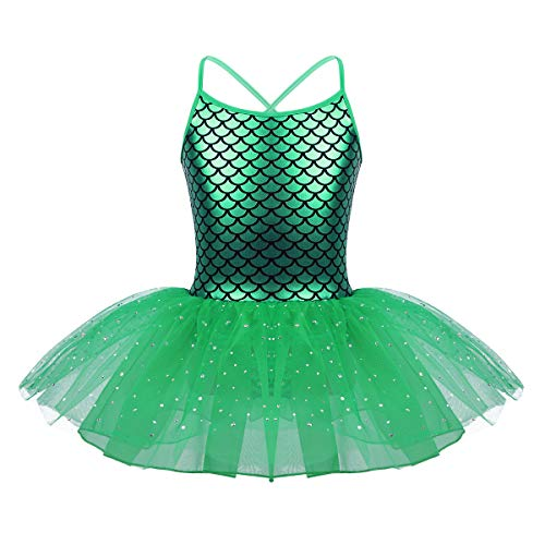 iEFiEL Girls Camisole Sequins Ballet Tutu Dress Gymnastic Dance Leotard Skirt Dancewear Costume Green Mermaid Costume 6