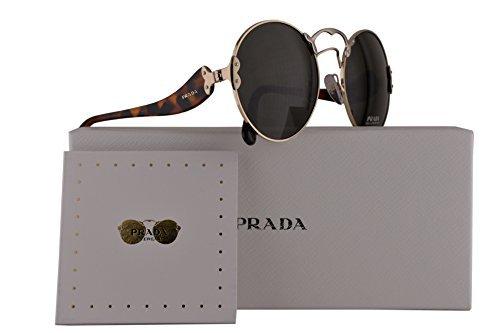Prada PR55TS Sunglasses Pale Gold Silver w/Green Grey Lens ZVN4J1 SPR55T PR 55TS SPR 55T