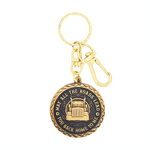 BadBananas - Truck Driver Gifts (Truckers) - May All The Roads Lead You Back Home To Me - Keychain - Gift For Husband Dad Boyfriend Father or Son