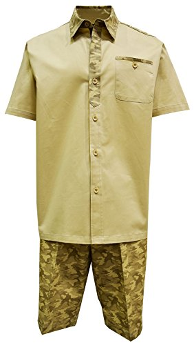 STACY ADAMS Men's Cotton Shirt & Short Set, Camouflage Design (XL/38, Beige)