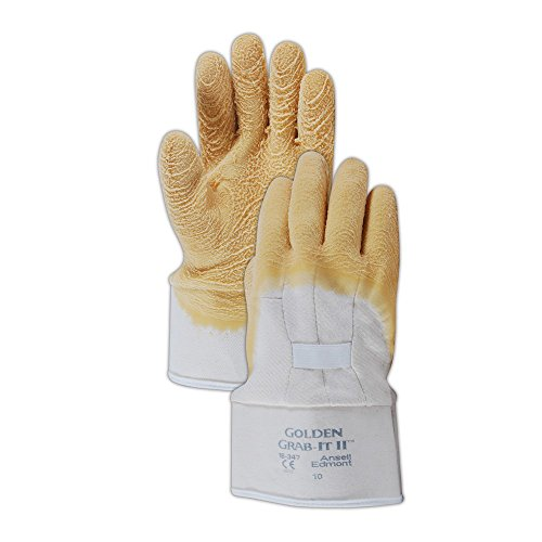 Cotton Ansell Gloves (Ansell Gloves 103702 Ansell Golden Grab-It 16347 Wrinkle Latex 3/4 Coated Gloves, Size 10, Gold/White (Pack of 12))