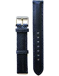 Lizard Watch Strap 15 Millimeters for Ladies Tank Model - Blue