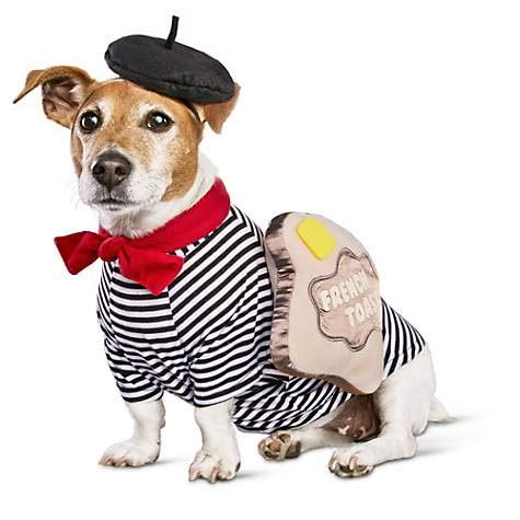 Bootique Dog Costume L French Toast Halloween Beret Ascot Butter Striped Shirt Large