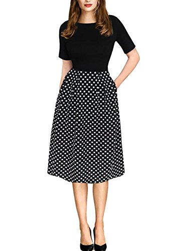 oxiuly Women's Vintage Patchwork Pockets Puffy Swing Casual Party Dress OX165 (3XL, Black) -
