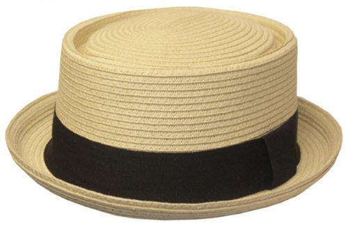 EH02EH - Mens Structured 100% Paper Straw Flat Top Pork Pie Fedora Hat - Natural/Large/X-Large