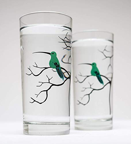 Hummingbird Glassware - Set of Two Everyday Drinking Glasses, Glassware, Gifts for her