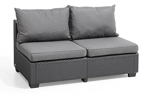 Keter Sapporo All Weather Modular Outdoor 2-Seater Patio Sofa Loveseat Sunbrella Cushions in a Resin Plastic Wicker Pattern, Modern Graphite
