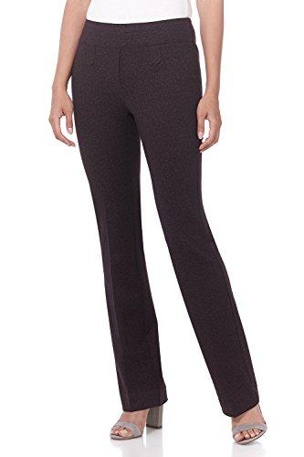 Rekucci Women's Secret Figure Pull-On Knit Bootcut Pant w/Tummy Control (12,Charcoal/Burgundy (Tummy Control Bootcut Pant)