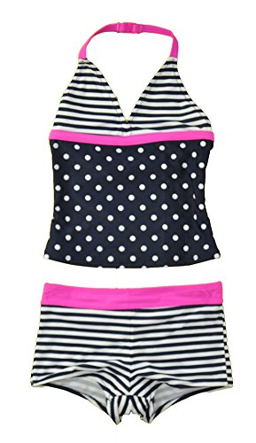 Osh Kosh Big Girls' Two Piece Halter Tankini with Swim Short, Navy ()