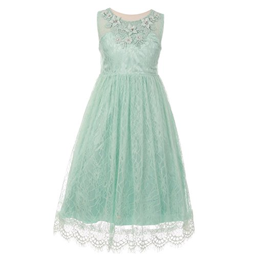 Decorated Lace - Cinderella Couture Big Girls Mint Floral Decorated Lace Junior Bridesmaid Dress 8