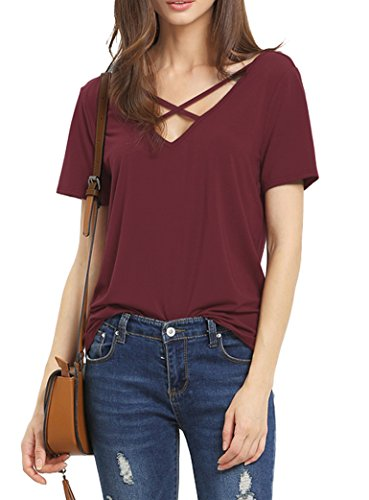 romastory-womens-summer-tops-bandage-v-neck-casual-girls-tees-t-shirt-l-wine-red
