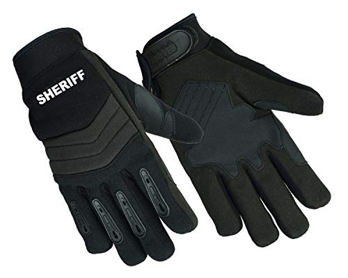 NEW Air Cooled Breathable No Sweat Knit Police, Sheriff Safety Glove with Kevlar Lining (Large, Black.SH)