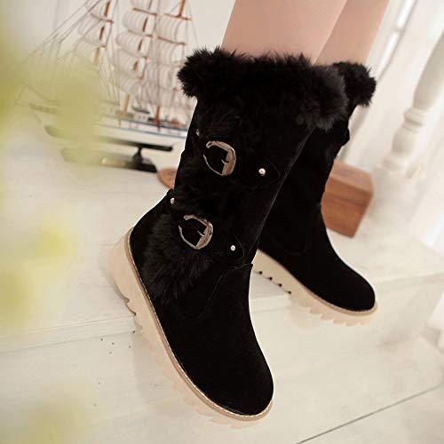 Nieve Invierno Interiores Gamuza Cálidas Correa Punta Redonda Botas Negro De Amlaiworld Zapatos Botines Mujer Hebilla Con Y Planos paFq65fFw