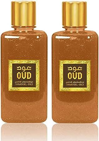 Conjunto de 2 Geles de ducha Oud Gold 300ml Perfumado para el cuerpo Hombre y Mujer Notas: Oud, Cardamomo Verde, Vetiver