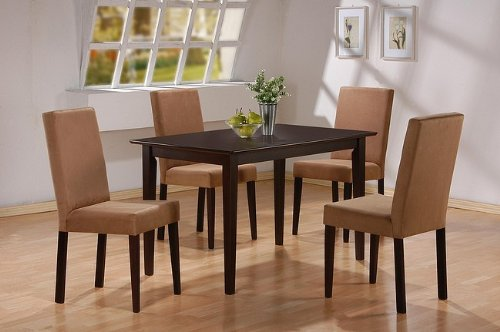 5pc-cappuccino-finish-dining-table-4-microfiber-parson-chairs-set